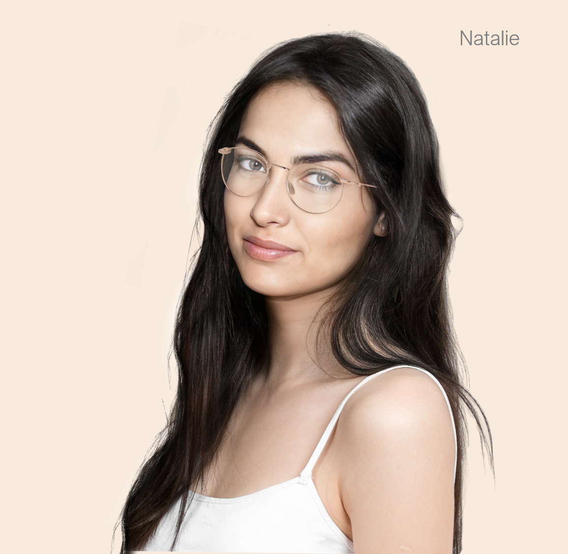 ai generated model natalie wearing opticals